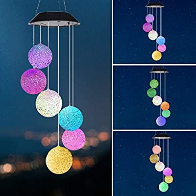 Pinshion Solar Wind Chime Color Changing Crystal Ball Solar Mobile Light, Wind Chime LED Wind Mobile Portable for Patio Yard Garden Home Waterproof Outdoor Decorative Romantic
