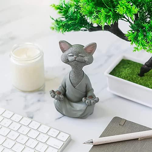 Statue de méditation Statue de Chat Zen Yoga Décoration Figure Résine Méditation Yoga Décor Feng Shui Ornement Sculpture Collection Artisanat Pelouse Jardin Décor (Gris)