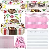 130-Pieces Patelai Eyelash Kit Includes 30-Pieces Eyelash Holder 20-Pieces Eyelash Extension Tweezers Applicator Tool & 50-Pieces Mascara Wands