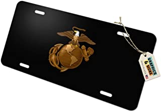 Graphics and More Marine Corps USMC Golden Logo on Black Eagle Globe Anchor Officially Licensed Novelty Metal Vanity Tag License Plate