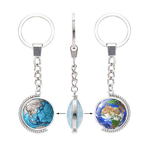 Gudeke Weltkarte Globus Zeit Edelstein schlüsselanhänger Doppelseitige drehbare Kristall Anhänger