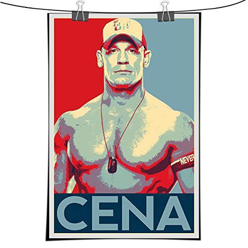 John Cena Illustration - Wrestlemania WWE Wrestler Fitness Art Home Decor in Poster Print or Canvas (1,16x24 inch-no frame)