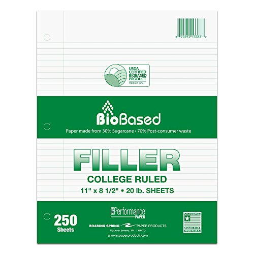 """Roaring Spring BioBased Recycled College Ruled Loose Leaf 3 Hole Punched Filler Paper, 11"""" x 8.5"""" 250 Sheets"""