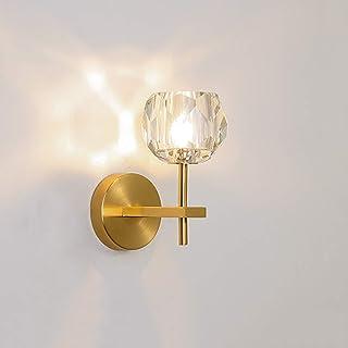 Lámpara de pared LED de cristales modernos, Linterna de pared creativa con brazo dorado, Aplique dorado de 3W, Bola de cristal translúcida, Soporte de latón, Base G9, para lámpara de noche,1