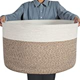 Lifesela XXXLarge Cotton Rope Basket, 22' x 22'x 14' Woven Storage Basket, Baby Laundry Basket with Handles, Foldable Blanket Basket Laundry Hamper for Storing Toys, Towels, Diaper and Clothing