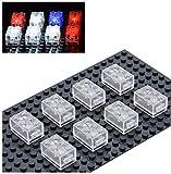 Sawaruita Light Building Blocks Classic Creative Bright Supplement, Electric Clear Transparent Brick, Compatible with All Major Brands Kids Games