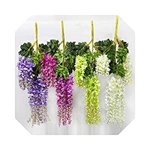 MUZIBLUE Artificial Flowers with Vase for Decoration| Wedding Decoration Flower Artificial Wisteria Silk Flower Long 110 cm White Purple Red Green-Blue