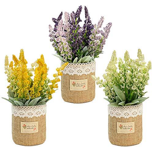 LUEUR 3Pcs Artificial Lavender Potted Plant Faux Flowers Desk Plant Decor, Mini Fake Lavender in Burlap Pot, Rustic Farmhouse Decoration for Home, Kitchen, Bathroom and Office Small Table Plants