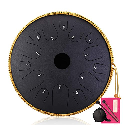 N&G Daily Equipment 14 Notes 14 Inches Handpan Drum Tank Drum Ethereal Drum Easy To Learn with Drumsticks for Camping Meditation Yoga