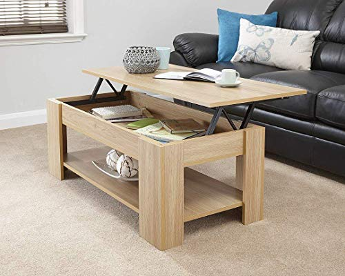 spot on dealz Oak Finish Wooden Lift Up Coffee Table Living Room Furniture