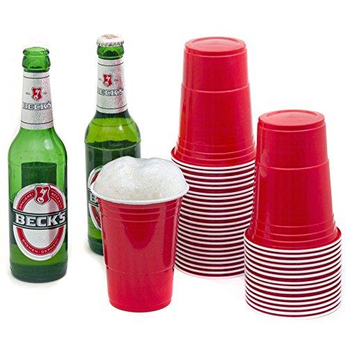 100 Stück Rote Partybecher Red Cups Trinkbecher 16 oz Beer Pong Kunststoff Party Becher Plastikbecher - Set inkl. 6 Tischtennis-Bälle und offizieller Beer Pong anleitung