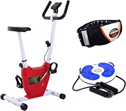 Fitness World Exercise Bike, Red,CF-937A with Rotating Tablet with Two Hands for Balance for Exercises and with Vibro Shap...
