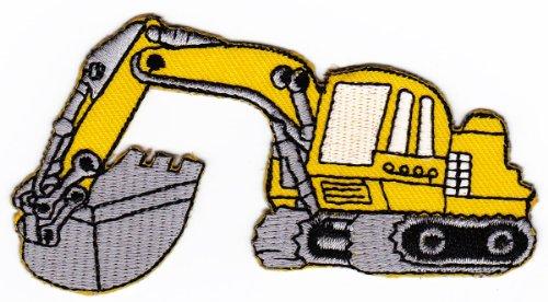Aufnäher Bügelbild Aufbügler Iron on Patches Applikation Bagger Baustelle