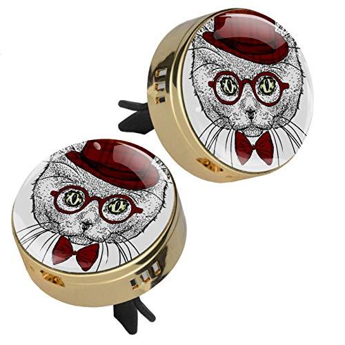 Z&Q Difusor de aceites Esenciales de aromaterapia Gafas de Gato ambientador para Las Rejillas de ventilación del Coche 4 Almohadillas de Recambio 33.8mmX46.4mm
