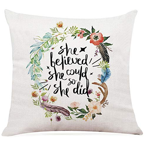 "Ihopes Inspirational Quotes Pillow Covers - She Believe She Could So She Did Pillow Case Cushion Cover for Sofa Couch Dorm Room Home Decor - Best Graduation/Birthday (18""x 18""Inch)"