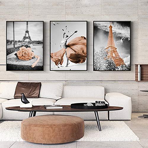 Póster de lienzo de paisaje de la ciudad flor caballo bailarín arte de la pared pintura carteles nórdicos e impresiones cuadros de pared para la decoración de la sala de estar 40x60cm x3 sin m