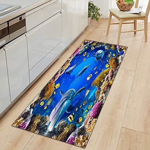OPLJ Alfombrilla de Cocina 3D Underwater World, Felpudo de Entrada, decoración de Suelo para Dormitorio, Alfombra para Sala de Estar, Felpudo Antideslizante A21 60x180cm