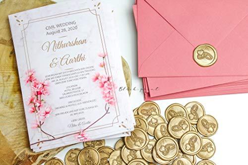 20 Stück fertige Siegelaufkleber Einladung Gold Siegel Wachs Abdruck Trauringe