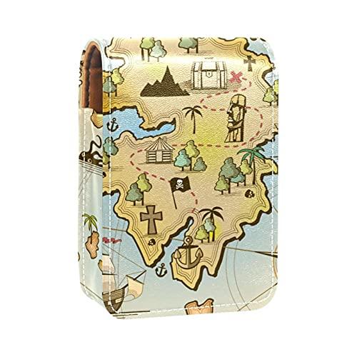 Brújula de Mapa del Mundo náutico Antiguo Impresiones Estuche para lápiz Labial Mini Estuche Organizador con Soporte para lápiz Labial con Espejo para Bolso Estuche para cosméticos de Viaje