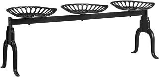 Tidyard Panca da Giardino con 3 Sedute in Ghisa Nera,Panca da Esterno 3 Posti,Pnaca in Metallo,Panca in Ghisa 155 x 42 x 53 cm