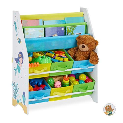 Relaxdays Kinderregal, Meer Motiv, 6 Boxen, 2 Fächer, Kinderzimmer, Spielzeug Aufbewahrung HBT 74 x 62 x 31,5 cm, bunt, Meerjungfrau, 1 Stück
