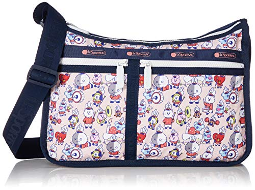 LeSportsac Multi Deluxe Everyday Crossbody Bag + Cosmetic Bag, Style 7507/Color K904, LeSportsac Logo Strap, White Zipper & Zipper Pull, Multi Color Pink Bag/Navy Blue Trim