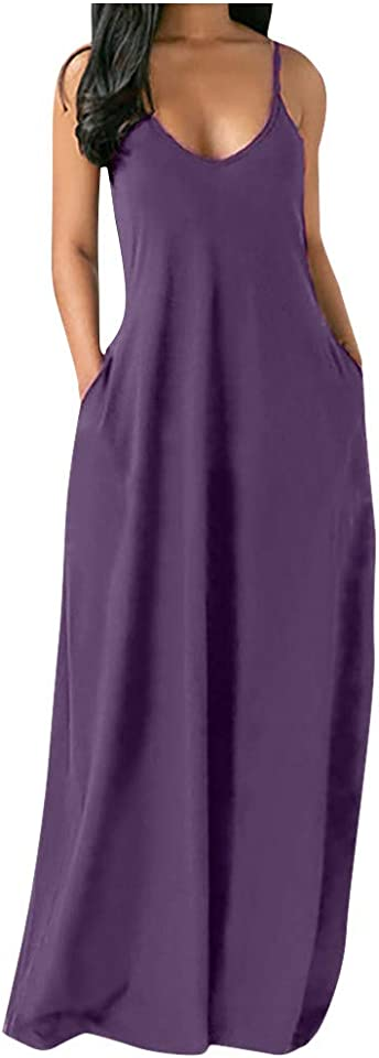 Summer Dresses for Women Maxi Long Plus Size Solid Sleeveless V Neck Pockets Camisole Dress(,)