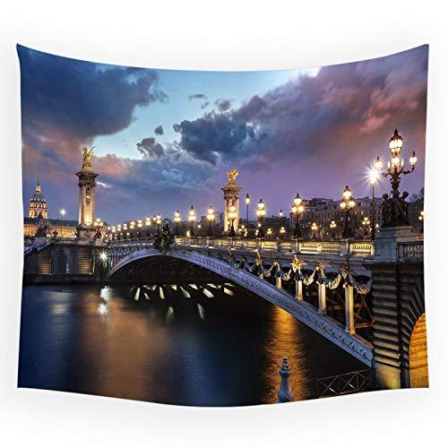 WERT Vista Nocturna de París Torre Eiffel Fondo de la Calle Tela casa Paisaje Arquitectura Dormitorio Tapiz de cabecera A1 73x95cm