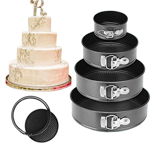 4 Size Set of Non-stick Food Grade Carbon Steel Alloy Round Cake Pan Set Includes 4″ 7″ 9″ 10″ Leakproof Springform Removable Bottom Pan DIY Baking Kitchen Tools (Carbon Steel Alloy)