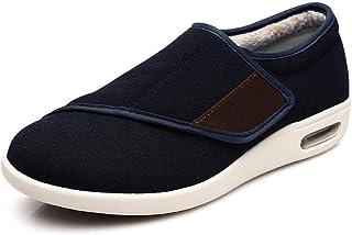 B/H Pantoufles diabétiques en Mousse,Automne et Hiver Plus Chaussures Chaudes en Velours, Plus Engrais Velcro Chaussures a...