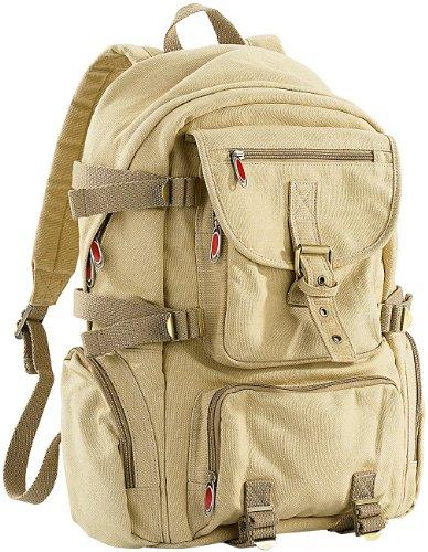 Xcase Rucksack zum Schnüren: Geräumiger Canvas-Rucksack mit Notebook-Fach (Rucksack Herren)