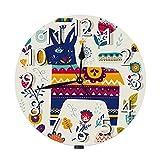 AEMAPE Reloj de Pared de Burro, Estilo Mexicano, Flor de Animal, Flores, Hermoso, Colorido, silencioso, sin tictac, Reloj de Pared Redondo