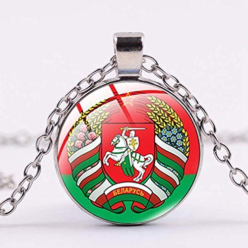 Collar República De Bielorrusia Símbolo De Cristal Cabujón Colgante Collar Caballero Escudo Estrella Roja Declaración Collar Hombres Mujeres Colección