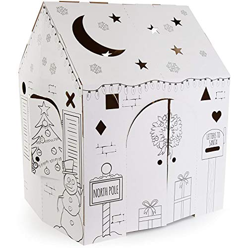 Easy Playhouse Holiday Cottage - Kids Art & Craft for Indoor Fun, Color, Draw, Doodle on a Festive North Pole House - Decorate & Personalize a Cardboard Fort, 32' X 26.5' X 40.5' - Made in USA, Age 2+