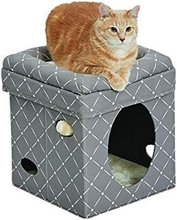 Cat Cube - Cat House / Cat Condo in Fashionable Mushroom Diamond Print, 15.5L x 15.5W x 16.5H Inches
