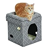 Cat Cube - Cat House / Cat Condo in Fashionable Mushroom Diamond Print, 15.5L x 15.5W x 16.5H Inches