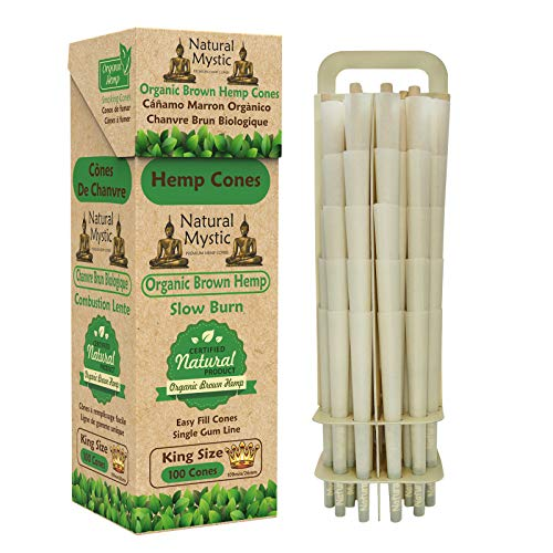 Natural Mystic Pre Rolled Cones – King Size Cones Rolling Papers 100 Pack Prerolled Cones with Tips Preroll Rolling Cones Hemp Pre Roll Cone Raw Fiber Organic Rolling Paper 109mm W Zig Pre-Rolled Ti