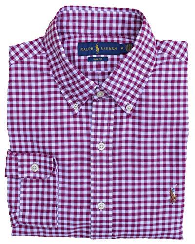 Ralph Lauren Hemd Button Down Sport Shirt Slim Fit Rot Weiß kariert Größe M