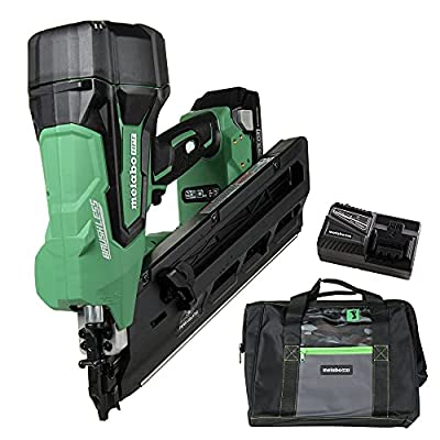 """Metabo HPT NR1890DC 18V Cordless Framing Nailer, Brushless Motor, 2"""" up to 3-1/2"""" Clipped & Offset Round Paper Strip Nails, 30 Degree Magazine, 3.0 Ah Lithium Ion Battery, Lifetime Tool Warranty from Metabo HPT"""