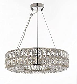 "Crystal Nimbus Ring Chandelier Chandeliers Modern/Contemporary Lighting Pendant 20"" Wide - Good for Dining Room, Foyer, Entryway, Family Room and More!"