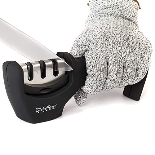 2in1 Kitchen Knife Accessories: 3Stage Knife Sharpener Helps Repair Restore and Polish Blades and CutResistant Glove
