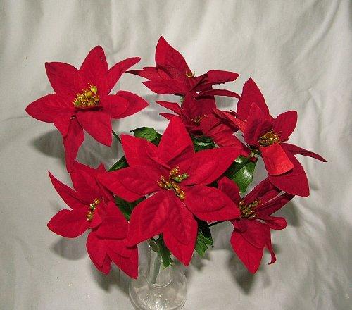 A1-Homes - Arbusto de flores de terciopelo artificial con 7 cabezas cada una, Navidad