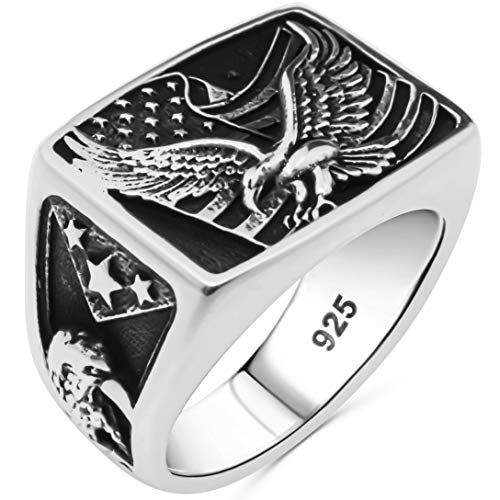 Solid 925 Sterling Silver Statement Patriotic American Flag USA Symbol Novelty Eagle Ring for Men (7)