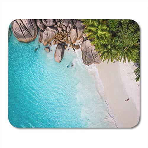 Semtomn Mouse Pad Tropisches Strandmeer und Palme aus dem Drohnen-Seychellen-Mousepad für Notebooks, Desktop-Computer-Matten, Büromaterial