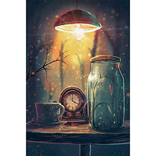 5D DIY Pintura Diamante,Paisaje del reloj Diamond Painting kit Cuadros Diamantes Completo Grande Bordado punto de cruz Cristal Artística decor de la pared del hogar Gifts Round Drill,40x60cm(16x24in)