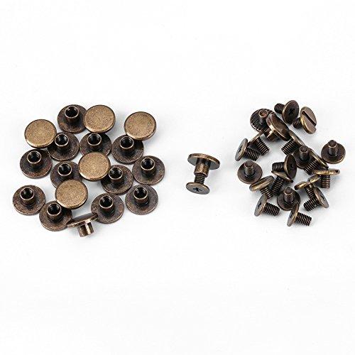 20 Schrauben mit Gewinde Kupfer 5 mm/ 6,5 mm/ 8 mm Metallzubehör Nägel Nieten Knöpfe Lederdekoration Buchbinderei Flachkopfschrauben Schlitzschrauben 5 mm