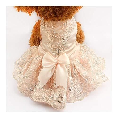 3°Amy Pailletten Spitze gestickte Hundekleid Prinzessin Brautkleider for Hunde (Color : Pink, Size : XL)
