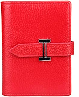Leather Women's Wallet Leather Card Holder Card Set Fashion Casual Top Layer Leather Ticket Holder Waterproof (Color : Red, Size : S)