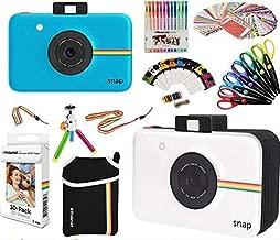 Polaroid Snap Instant Print Camera Gift Bundle + ZINK Paper (30 Sheets) + Snap Themed Scrapbook + Pouch + 6 Edged Scissors + 100 Sticker Border Frames + Color Gel Pens + Frames + Accessories