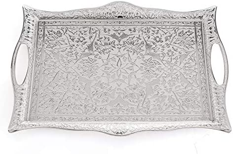 Erbulus Turkish Serving Trays 10 23 x 14 17 Silver Tray Decorative Table Centerpiece and Kitchen product image